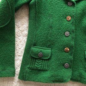 NWOT Austrian Green Wool Jacket Antler Buttons